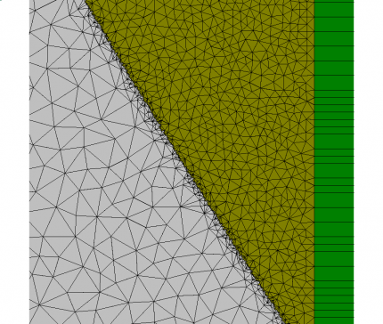 Fig. 2: Detail of the triangular mesh with a surface roughness of 10nm. (Automatic mesh generation using JCMgeo.)